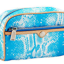 Rebecca Minkoff Small Aqua Blue Snake Leather Trim Cosmetic Travel Case 75 New Photo