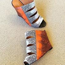 Rebecca Minkoff Snakeskin Leather Orange White Black Wedges (38) Photo