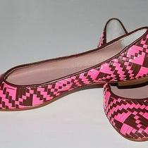 Rebecca Minkoff Uma Pink/brown Woven Leather Flats Size 5.5 M Photo