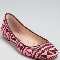 Rebecca Minkoff  Uma Woven Ballet  Flats Shoes Neon Pink/brown Size 9  Photo