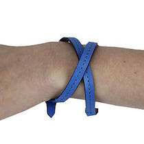 Rebecca Minkoff Women's Cerulean Blue Leather Skinny Mini Wrap Bracelet 88 New Photo