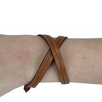 Rebecca Minkoff Women's Luggage Leather Skinny Mini Wrap Bracelet 88 New Photo