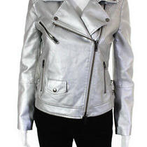 Rebecca Minkoff Womens Hudson Faux Leather Jacket Silver Extra Small 11513157 Photo
