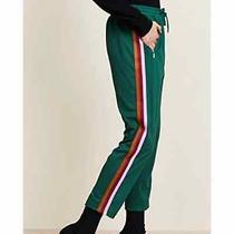Rebecca Minkoff Womens Jolie Cropped Joggers Striped Track Pants Green Sz Large Photo