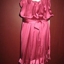 Rebecca Taylor 2 Solid Pink Blush 100% Silk Ruffle Asymmetrical Hemline Dress A5 Photo
