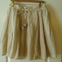 Rebecca Taylor 6 Brown Tan Polka Dot Irredescent Detail Woven Tassel Tie Skirt Photo