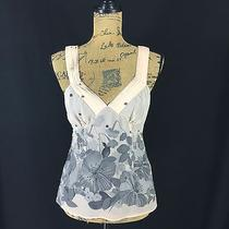Rebecca Taylor 8 Medium Blouse 100% Silk Pink Blush Gray Floral Dot Tank Lined  Photo