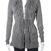 Rebecca Taylor Beige Gray Long Sleeve Fringe Trim Sweater Sz S Photo