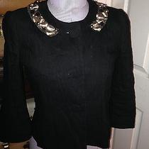 Rebecca Taylor Black Embellished Bead Sequin Collar Audrey Hepburn Shrug Jacket Photo