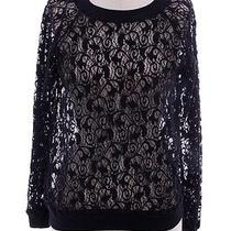 Rebecca Taylor Black See Through Lace Sweater Top Sz Xs Photo