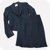 Rebecca Taylor Blazer Skirt Suit Woman Sz 2 Button Sleeve Trumpet Hem Navy Blue Photo