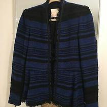Rebecca Taylor Blue & Black Tweed Peplum Jacket W/ Fringe Size 4 Retail 495 Photo