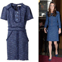 Rebecca Taylor Blue Boucle Rosette Kate Middleton Tweed Shift Dress 2 Euc Photo