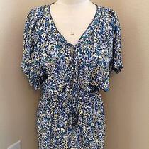 Rebecca Taylor Blue Floral Printed Short Sleeve Dress Size 2 Photo