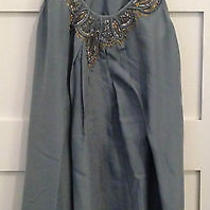 Rebecca Taylor Blue Silk Baby Doll Gold & Silver Bead Detail Dress  Us Size 6 Photo