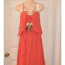 Rebecca Taylor Coral Feather Necklace Cami Dress 4 375 Photo