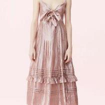 Rebecca Taylor Metallic Chiffon Bow Dress Rose Pink Size 2 Photo