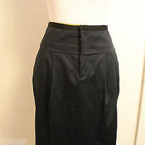 Rebecca Taylor Navy Blue Silk Satin Pencil Skirt 10 Photo