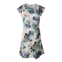 Rebecca Taylor New Multi Sateen Floral Print Pleated Wear to Work Dress 4 Bhfo Photo