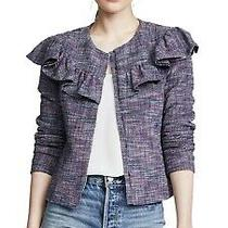 Rebecca Taylor Purple Tweed Ruffle Blazer Jacket Stretch Womens Size 4 Nwt 495 Photo