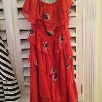 Rebecca Taylor Red Dress With Flowers Size 6 Photo