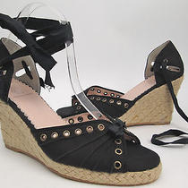 Rebecca Taylor Shoes 7.5 M Black Canvas Ankle-Wrap Jute Wedge Heel Sandals  Photo
