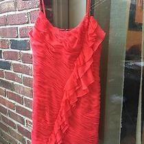 Rebecca Taylor Silk Dress Ruffles Red Color  Beautiful Cocktail Wedding Size 6  Photo