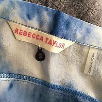 Rebecca Taylor Silk Marbled Tie Dye Skirt Size 2 Xs/s Blue & White  Photo
