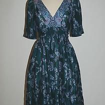 Rebecca Taylor Silk Stunning Floral Print Short Sleeve Dress Size 2 Photo