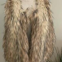 Rebecca Taylor Women's Black Tan and Beige Size L Faux Fur Sleeveless Vest New  Photo