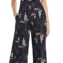 Rebecca Taylor Women's Jumpsuit Blue Size 6 Embroidered Floral Linen 595 590 Photo