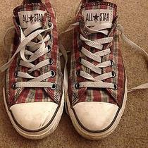 Red and White Plaid Converse All Star Low Tops Size 5 Photo