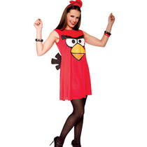 Red Angry Birds Women Costume Tank Fancy Dress Small 4-6 Halloween Game App Photo