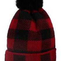 Red Black Buffalo Plaid Faux Fur Pom Watch Cap Beanie Knit Winter Stocking Hat Photo