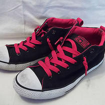 Red Black Converse All Stars Sneakers Shoes Low Top Size 6 Juniors Pre-Loved Photo