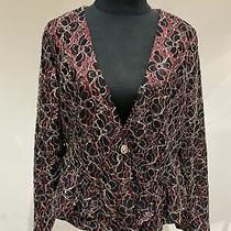 Red Black & Gold Lace Lined Fitted Peplum Jacket Size 16 Photo