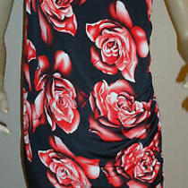 Red Black Miss Blush Floral Print Embellished One Shoulder Tunic Dress Size 14 Photo