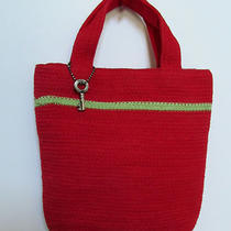Red Braided Cotton Crocheted Fossil Medium Handbag Purse With Metal Key  Photo