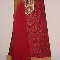 Red Brown Salwar Kameez Suit Embroidery Gift Free Gift Haute Unique Promo 1sofo Photo