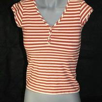 Red City Dkny Striped v Neck Button Up Blouse Shirt Size S Photo