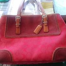 Red Coach Handbag Purse Leather Straps  Photo