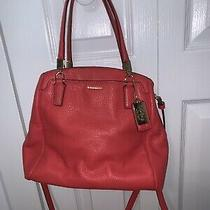 Red Coach Leather Purse Shoulder Bag W 3 Compartments & 2 Handles 27862  Photo
