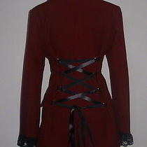 Red Coat Jacket Size 12 Tailcoat Goth Corset Fantasy Burlesque Victorian Vampire Photo