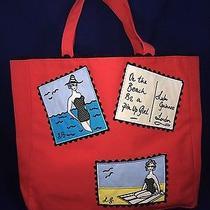Red Cotton Tote Purse Lulu Guinness Shoulder Bag Handbag Pin Up Beach London Euc Photo