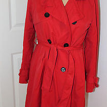 Red Cotton Trench Coat Photo