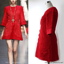 Red Dolce Gabbana Dress Red Lace Dress Red Cocktail Dress (Style)  Photo