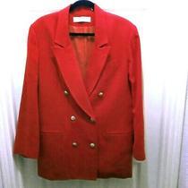 Red Double Breasted Blazer Valerie Steven Pure Wool Blazer Jacket Women Coat Photo