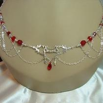 Red Edwardian Style Silver With Swarovski Crystal Circlet/necklace Photo