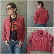 Red Express Suede Denim / Trucker Style Jacket Size S Photo