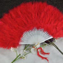 Red Feather Folding Hand Fans Fancy Dress Party Wedding Favor Photo